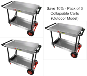Folding Utility Carts Outdoor Pack of 3